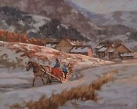 """Littorio Del Signore Painting Winter Landscape Canadian Quebec Listed 16x20"""""""