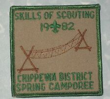 "Chippewa Dist. Spring Camporee 1982 Patch - Skills of Scouting - 3"" x 3"""