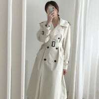 Womens Double-Breasted Jacket Belt Autumn Slim Fit Trench Coat Outwear Lapel New