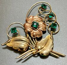 1930 Harry Iskin 1/20 10K Rose & Ylw Gold Emerald Glass Stones Floral Brooch Pin