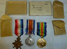 WW1 Medals Trio 1915 Star, Private A G Lane 10145 Norths Staffordshire Regiment