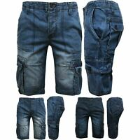 Mens Cargo Shorts Combat Denim 3/4 Long Length Multi Pocket Casual Half Pants