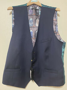 TED BAKER London Debonair Dark Navy Blue Wool Blend Waistcoat Vest Size 46 $259