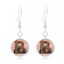 Letter B Victorian  Photo Art Glass Cabochon 16mm Charm Earring Earring Hooks