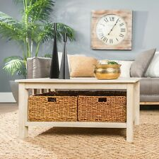 """Storage Coffee Table with Baskets - White Oak 40"""" - New in Box"""