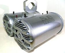 4 KENWOOD Marine 600 Watt QUAD VIBE Boat Wakeboard Tower Speakers Chrome-Silver!