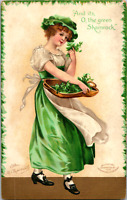 Vintage Ellen Clapsaddle St. Patrick's Day Greetings Postcard Shamrock Woman