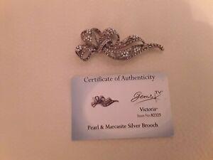 Pearl & Marcasite silver brooch