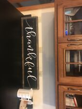 Farmhouse THANKFUL Sign In Heavy Barn wood White Lettering On Black
