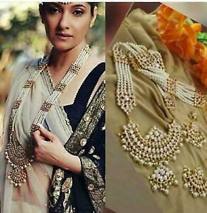 Indian Gold Plated White Kundan Stone Rani Haar Necklace Bollywood Fashion Set
