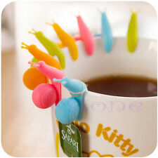 5pcs Cute Snail Shape Silicone Tea Bag Holder Cup Mug Candy Colors Gift New