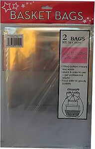 1 Pack Of 2 LARGE Cellophane Hamper Gift Bags -Clear Cello Basket Wrap