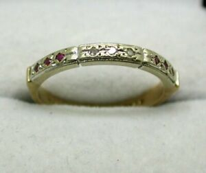 Pretty Two Colour 9 Carat Gold Narrow Ruby And Diamond Half Eternity Ring Size M