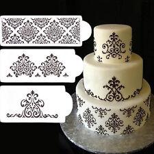 3Pc Fondant Cake Mold Filigree Damask Flower Stencil Carved Sugarcraft Decor HOT