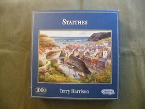 """1000 pce Gibson jigsaw - """"Staithes"""" by Terry Harrison"""