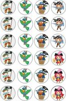 24 X PIRATE THEMED CUPCAKE TOPPERS EDIBLE THICKER PREMIUM RICE PAPER 195