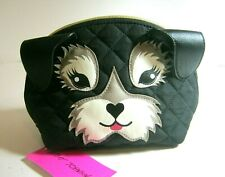 Betsey Johnson Kitsch Dog Quilted Cosmetic Bag Case Black Gray Nwt $48