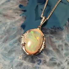 Solid Australian Opal Royale Pendant set in Sterling Silver 14 x 11 mm