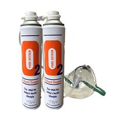 2 Pure Oxygen 10 Litre cans + 1 x  Mask & 1.8 M Tubing Portable Oxygen Cylinder
