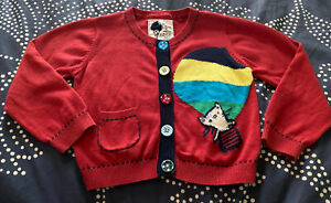 NEXT UK 3-4y 3t 4t kitty hot air balloon red whimsical cardigan  100% Cotton