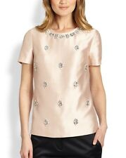 Nwt Tory Burch VESPER Bead-Embellished Woven Silk Top Blouse Blush Champagne 0