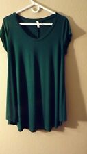 "Isaac Liev Woman""s  flowy short sleeve tunic top  XL (16-18) hunter green."