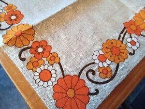 Irish Linen placemats 60s 70s vintage orange flower power floral set of 8