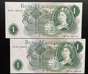 Single & Double Digit UNC Consecutive £1 ERRORS BT06 788689-699 BT06 788690-700.