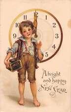 New Years Greetings Boy Smoking Antique Postcard J47107