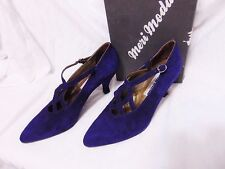 Vintage Meri Moda Womens Classics Pumps Size Eur 38 Blue Suede Made Venice Italy