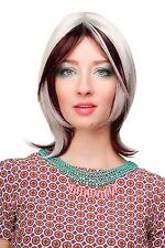 Perruque Pour Femme Extravagant rouge foncé Blanc court lisse Raie CM-383