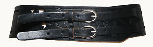 Black Genuine Leather Stamped Floral CutOut Wide Women's Waist Belt Size 86-94cm