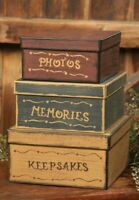 PRIMITIVE NESTING BOXES PHOTOS MEMORIES KEEPSAKES STACKING STORAGE SET OF 3