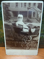CABINET PHOTOGRAPH darling Marion Lott in carriage LOOMIS GALESBURG ILL