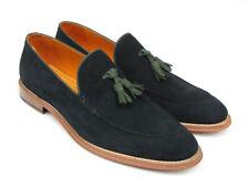 Paul Parkman Men's Tassel Loafer Green Suede Shoes (Id#087)