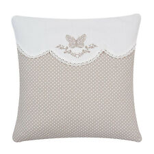 Clayre & Eef Pillow Case Shabby Cottage Brocade Pillow Monogram Heart Cream