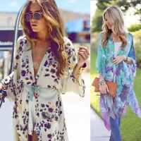 Summer Women Boho Floral Kimono Cardigan Chiffon Tops Blouse Ladies Beach Coat