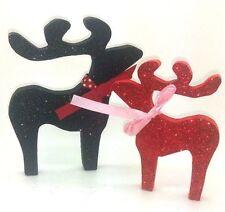 BLACK RED DEER REINDEER BIRTHDAY CHRISTMAS DECORATION SHABBY CHIC HOME