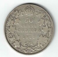 CANADA 1913 50 CENTS HALF DOLLAR KING GEORGE V STERLING SILVER CANADIAN COIN