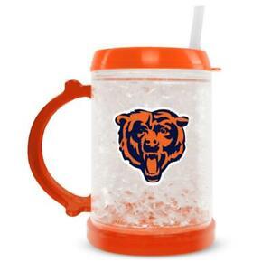 NFL CHICAGO BEARS JUNIOR FREEZER GLASS MUG WITH STRAW PLASTIC NEW