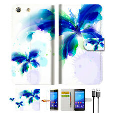 Blue Butterfly Wallet TPU Case Cover For Sony Xperia M5 -- A009