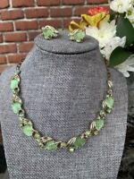 Vintage Signed Art Molded Glass Leaves & Rhinestone Necklace & Earrings Set