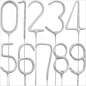 Silver Number Sparkling Candles Birthday Cake Toppers Sparklers Party Decoration