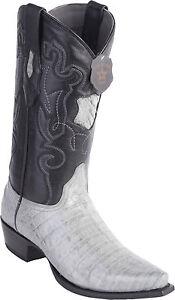 Los Altos Genuine GRAY CROCODILE CAIMAN Belly Snip Toe Western Cowboy Boot D