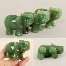 1X Natural Green Aventurine Jade Stone Craving Lucky Elephant Statue Decoration