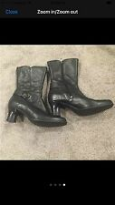 Clarks Women's Black Leather Side Zip Ankle Boots Size 7M