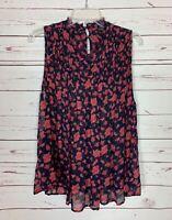 Lucky Brand Women's XL Extra Large Navy Pink Floral Sleeveless Blouse Top Shirt