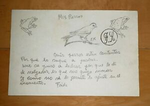 """FRIDA KAHLO GRAPHITE ON PAPER SIGNED SEAL DRAWING W/PERSONAL NOTE """"MIS PERROS"""""""