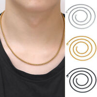Men Women Titanium Steel Chain Necklace Pendant Drop Fashion Jewelry Gold Silver