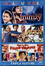 NEW CHILDREN'S TRIPLE FEATURE DVD // MIMZY + HOOT +HOW TO  EAT FRIED WORMS